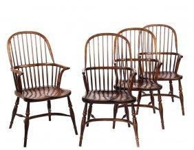 (set Of 4) English Tavern Chairs - 20th C. Fine Copies