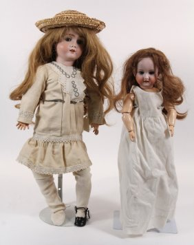 "(2) 22"" & 14"" German Bisque Dolls - 22"" Bisque Head"