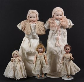 (5) Bisque Head Character Dolls - All Late 19th To