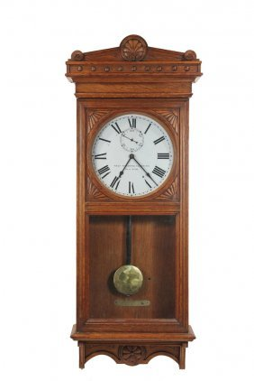 Railroad Station Regulator Clock - Golden Oak Cased