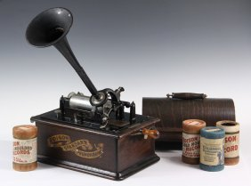 Edison Standard Cylinder Phonograph W/ (1) Horn & (17)