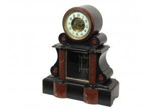 French Mantel Clock - Black Slate And Red Jasper