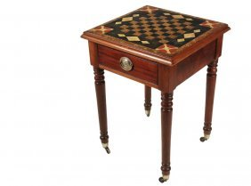 English Painted Slate Top Chess Table - Late Victorian