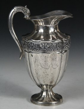 Water Pitcher - Mexican Sterling Silver Footed Water