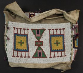 Native American Bag - Lakota Beaded Buffalo Hide