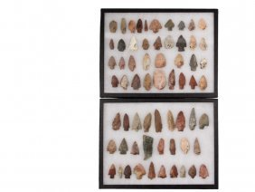 (63) Native American Projectile Points In (2) Display