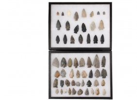 (56) Native American Projectile Points In (2) Display