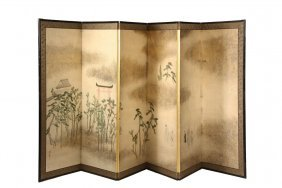 Japanese Painted Folding Screen - Late 19th To Early