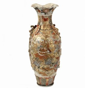Japanese Monumental Floor Vase - 19th C. Satsuma Palace