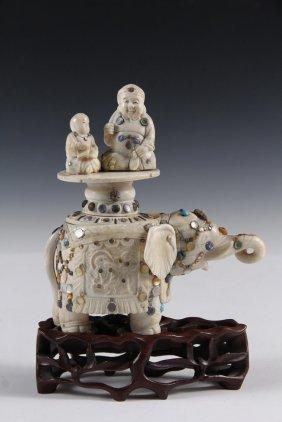 Antique Shibayama Ivory Elephant With Riders -