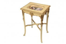 Austrian Stand With Porcelain Insert - Yellow And Gold
