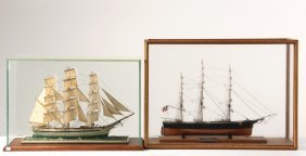 "(2) Cased Ship Models - Clipper Ship ""young America"" By"