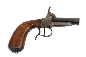 Napoleon Iii Belgian Muff Pistol - Engraved Single Shot