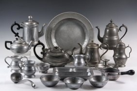 Collection Of (48 Pcs) Of Pewter In (4) Trays - All But