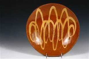 REDWARE BOWL - Shallow Round Bowl with yellow swirl