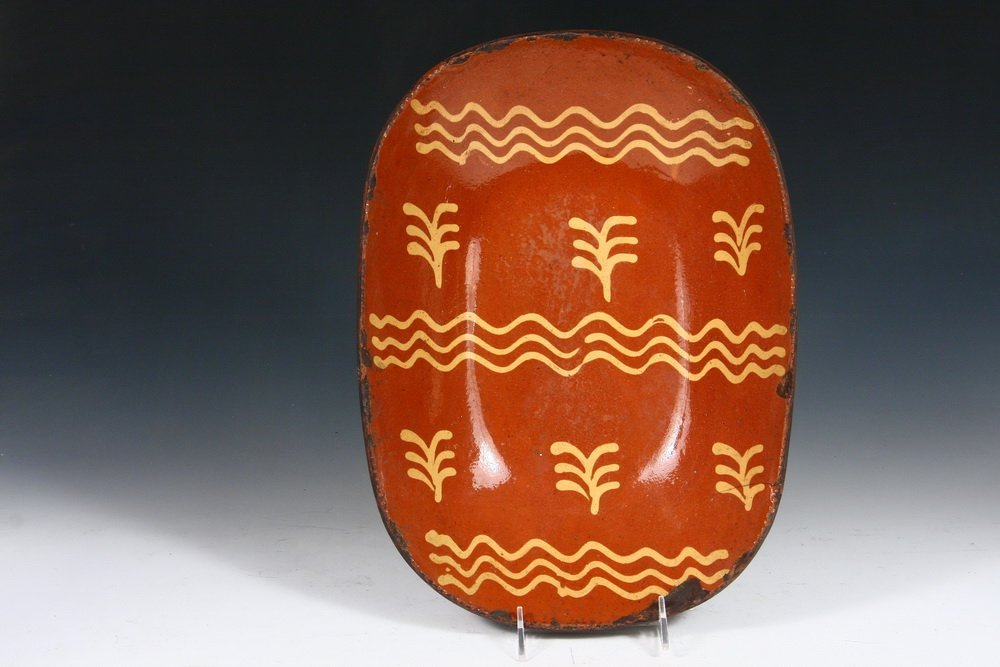 REDWARE BOWL - Deep Oval Trencher, 19th c.