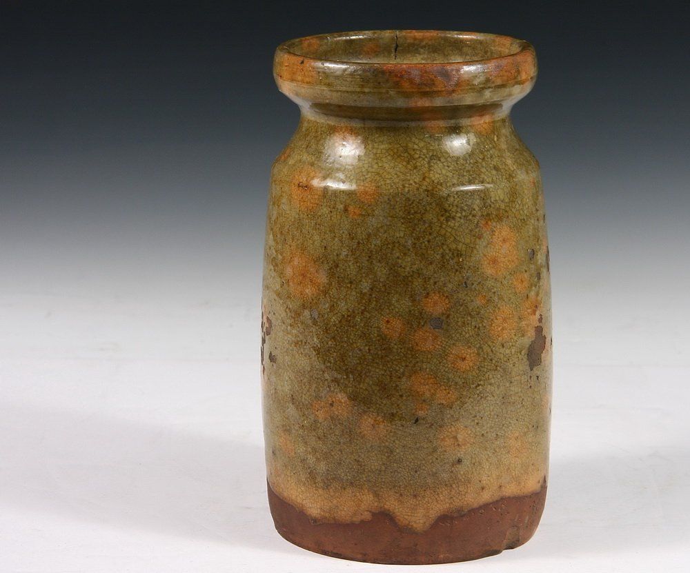 REDWARE OYSTER JAR - Rare Early 19th c. Atlantic