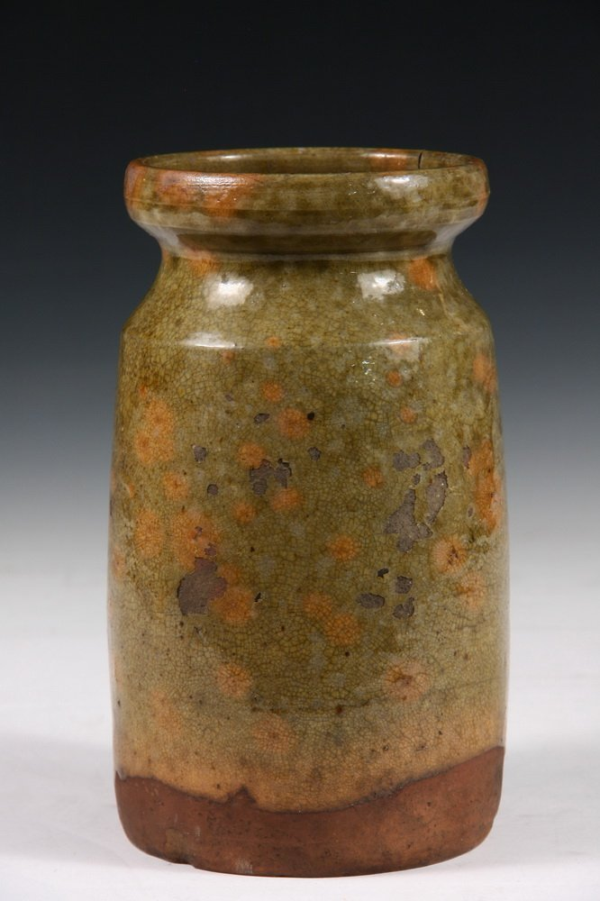 REDWARE OYSTER JAR - Rare Early 19th c. Atlantic - 2