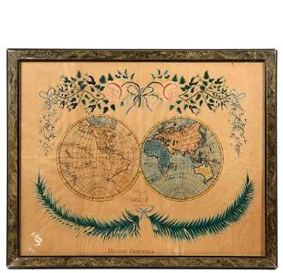 """19TH C. SCHOOL GIRL MAP - """"A Map of the World"""" by"""