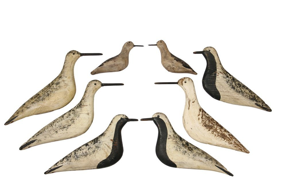 FLOCK OF SHOREBIRD DECOYS - Cape Cod Carved and Painted