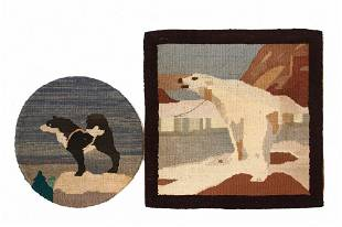 """(2) GRENFELL MATS - Hooked Mats, 12"""" Round with Husky"""