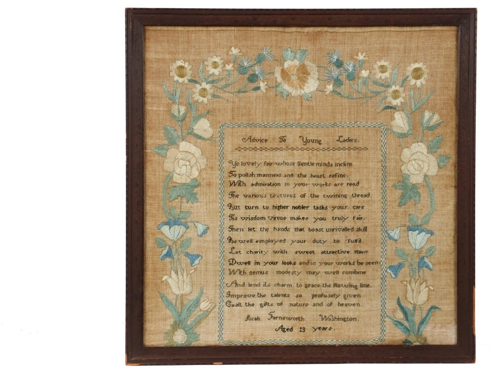 """FRAMED SAMPLER - """"Advice to Young Ladies"""", signed Sarah"""