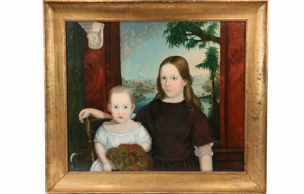 ANTEBELLUM AMERICAN SCHOOL - Portrait of Two Sisters,