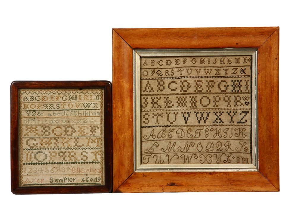 (2) SMALL FRAMED SAMPLERS - Both early 19th c., wool on