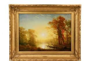 "ALBERT BIERSTADT (NY/CA/MA, 1830-1902) - ""Sunrise"", oil"
