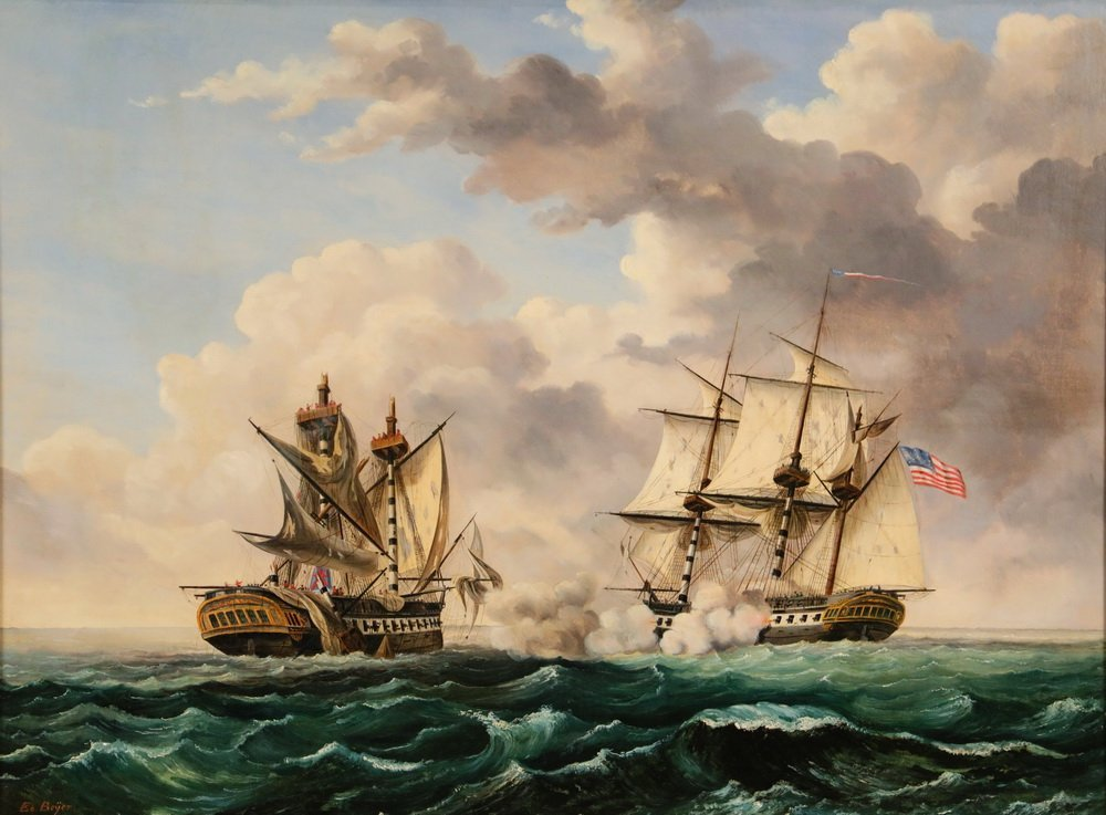 "EDWARD BEYER (PA/VA, 1820-1865) - ""USS Constitution and - 2"