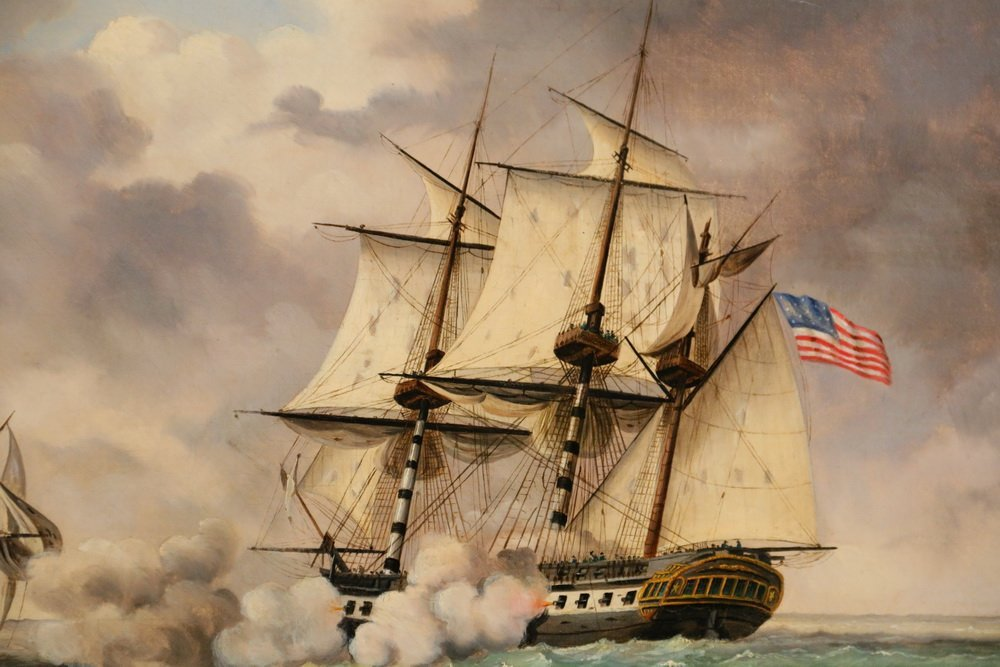 "EDWARD BEYER (PA/VA, 1820-1865) - ""USS Constitution and - 6"