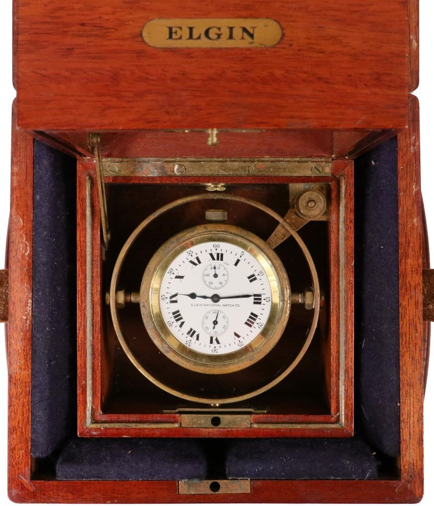 SCARCE DOUBLE CASED WWII VINTAGE ELGIN SHIP CHRONOMETER