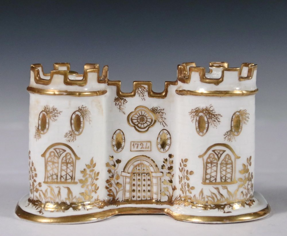 MINTON PORCELAIN INKWELL - Double Inkwell in the form