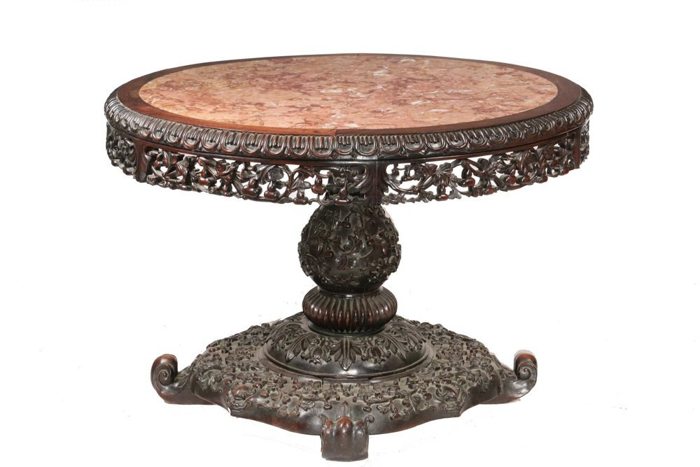 ANGLO-INDIAN CENTER TABLE - 19th c. Round Rosewood and