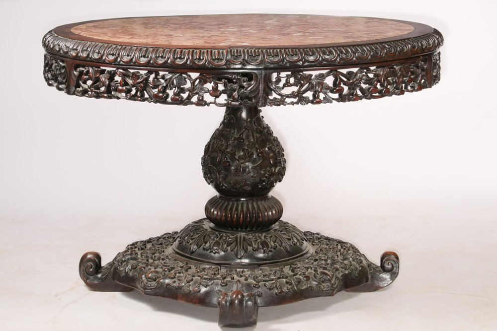 ANGLO-INDIAN CENTER TABLE - 19th c. Round Rosewood and - 2