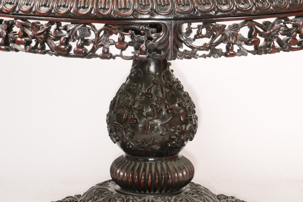 ANGLO-INDIAN CENTER TABLE - 19th c. Round Rosewood and - 3