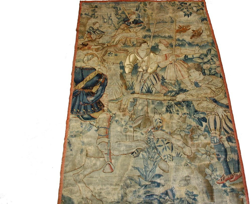 FLEMISH TAPESTRY - 17th c. Wool Tapestry depicting