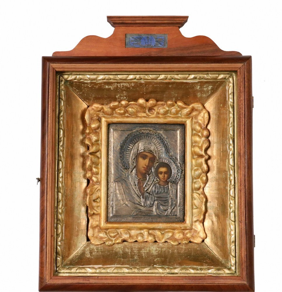 CASED IMPERIAL RUSSIAN ICON - 19th c. Large Icon of