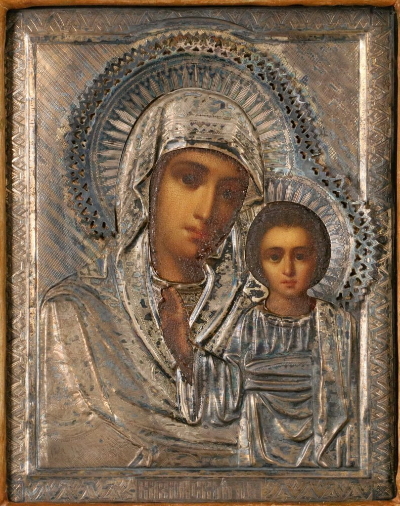 CASED IMPERIAL RUSSIAN ICON - 19th c. Large Icon of - 2