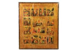 IMPERIAL RUSSIAN ICON  19th c Lives of Jesus oil