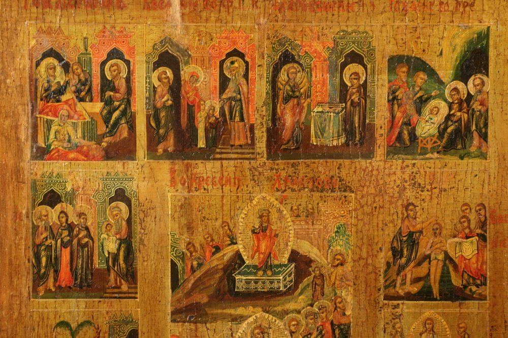 """IMPERIAL RUSSIAN ICON - 19th c. """"Lives of Jesus"""", oil - 2"""