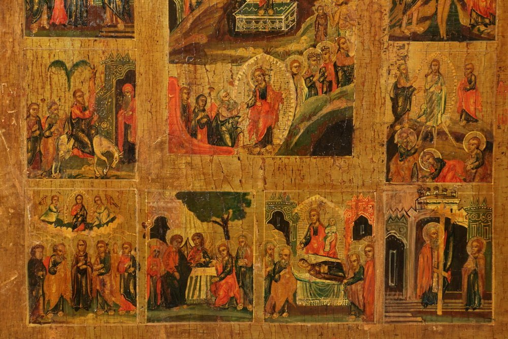"IMPERIAL RUSSIAN ICON - 19th c. ""Lives of Jesus"", oil - 3"