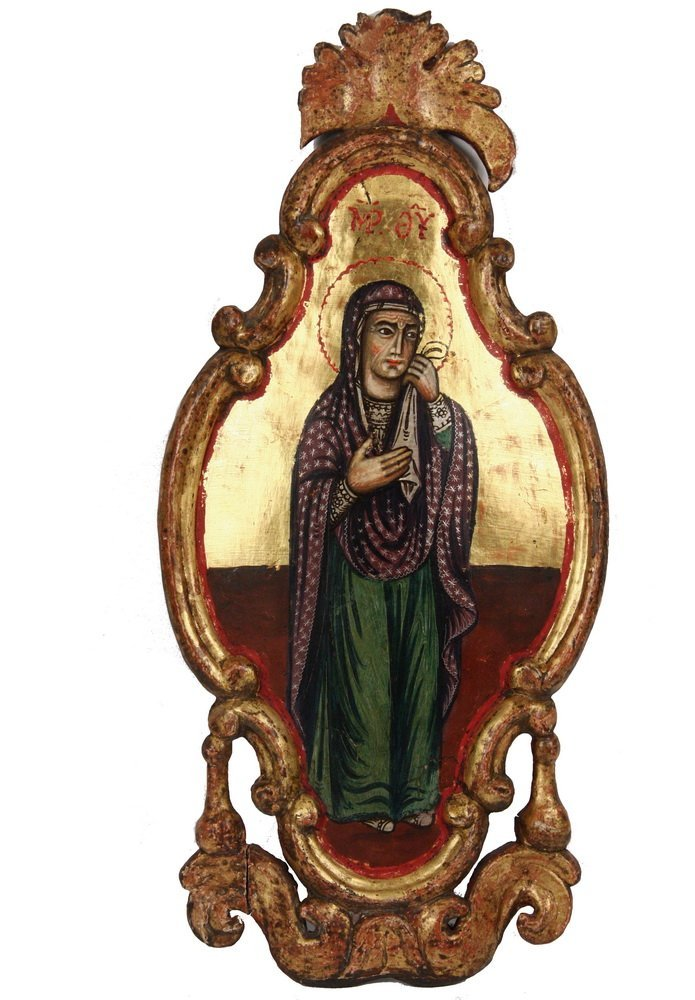 RARE FORM GREEK ORTHODIX ICON - The Virgin Mary in