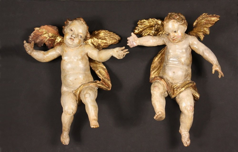 PAIR OF PUTTI - Italian Rococo Carved and Polychromed