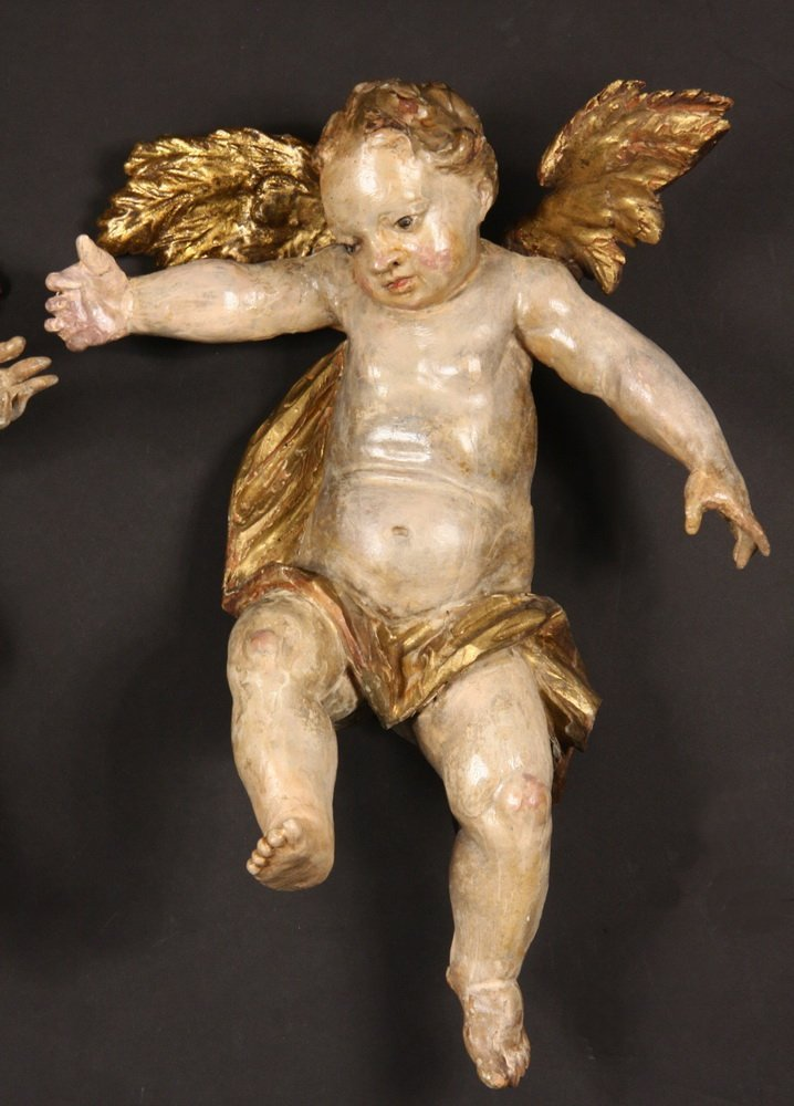 PAIR OF PUTTI - Italian Rococo Carved and Polychromed - 3