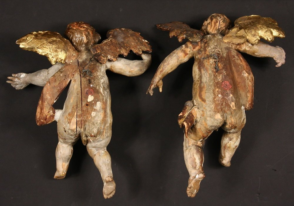 PAIR OF PUTTI - Italian Rococo Carved and Polychromed - 4