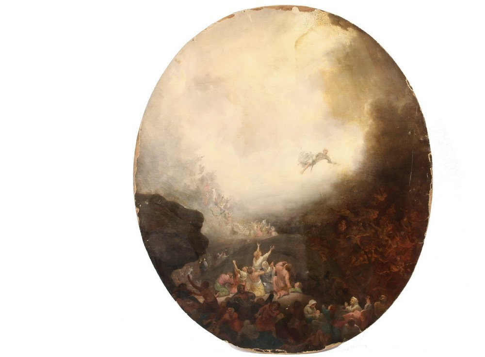 OLD MASTERS PAINTING - Late Renaissance Oval View of