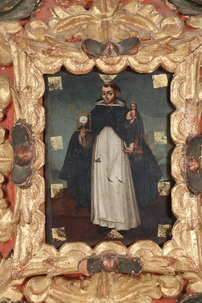 SPANISH COLONIAL RETABLO - 18th c. Portrait of a Saint, - 2