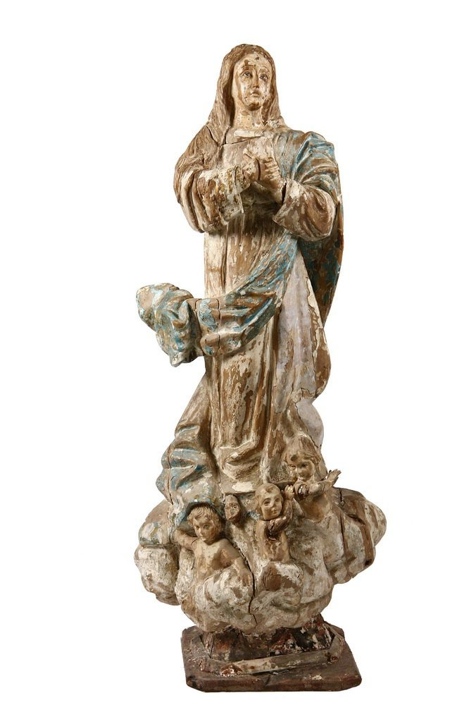 ECCLESIASTICAL STATUE - 17th c. Spanish Madonna