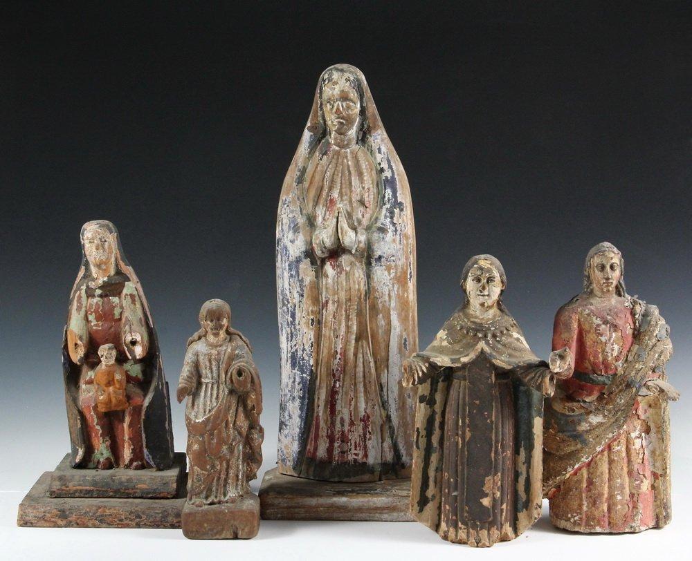 (5) SPANISH COLONIAL SANTOS - 19th c. Figures of Female